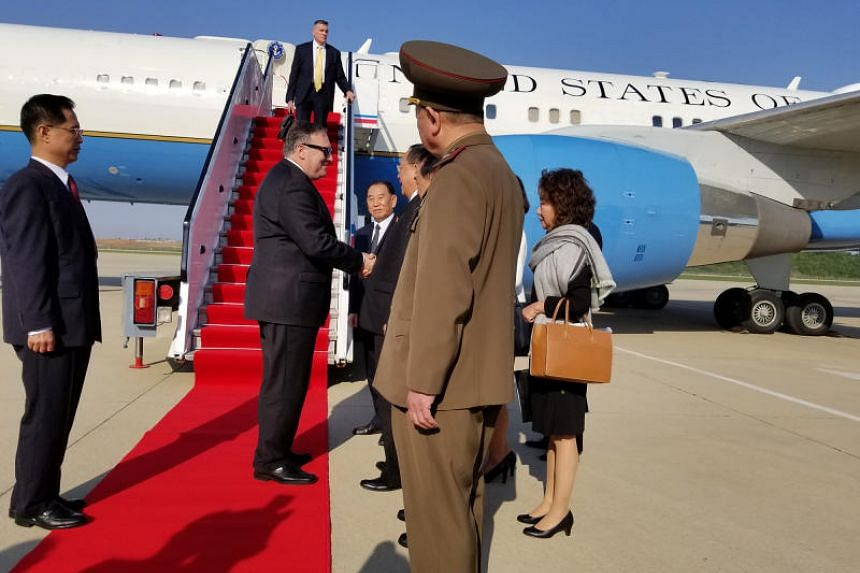 US Secretary of State Mike Pompeo arrives on Tuesday (May 8) at Pyongyang airport in North Korea.