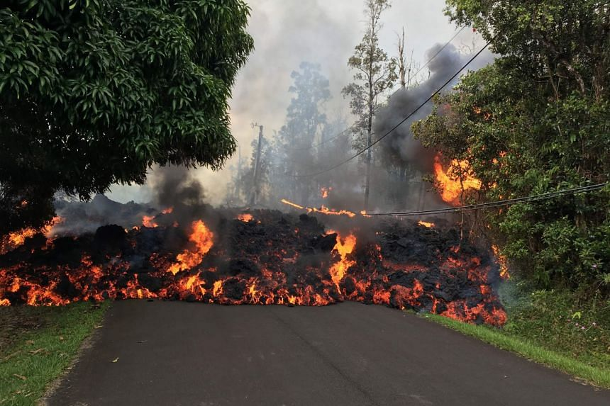 Aa lava flow moving on Makamae Street in Leilani Estates on May 6, 2018.