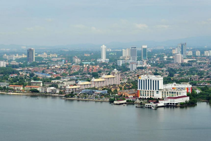 The Johor Bahru skyline, on the southernmost coast of Peninsula Malaysia.