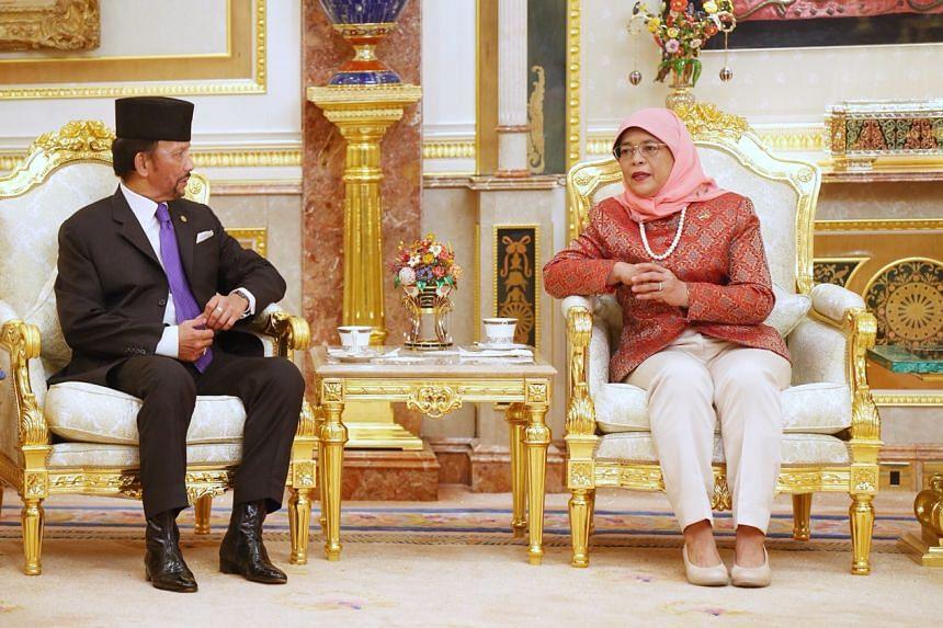 President Halimah Yacob called on Brunei Sultan Hassanal Bolkiah at the Istana Nurul Iman, on May 12, 2018.