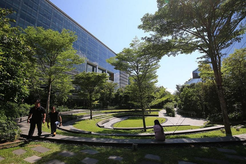 The lush greenery in Mapletree Business City II, which has more than 1,400 trees, was one of the features that helped the business park win big at the BCA Universal Design Mark Awards.