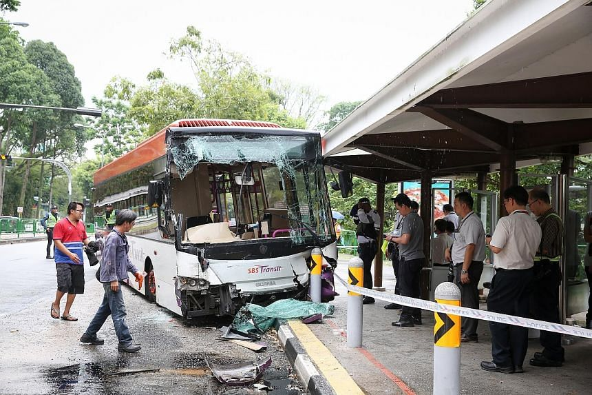 The SBS Transit bus in the accident ended up with a smashed windscreen and detached front bumper. It had rear-ended a stationary SMRT bus before crashing into a safety bollard at a bus stop in Jalan Jurong Kechil yesterday morning. It is believed tha