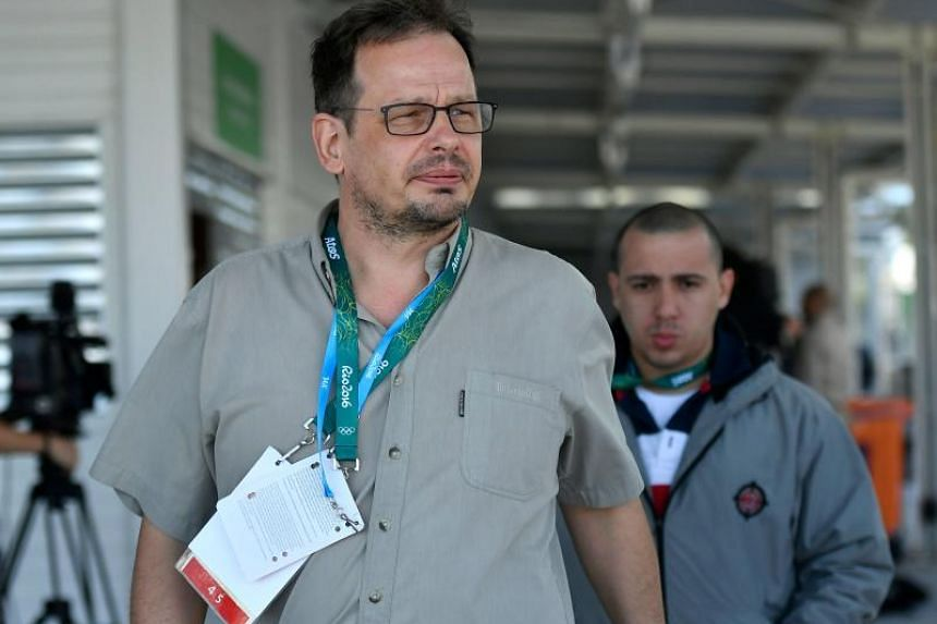 German journalist Hajo Seppelt leaving a press conference held by International Olympic Committee President Thomas Bach in Rio de Janeiro on Aug 4, 2016.