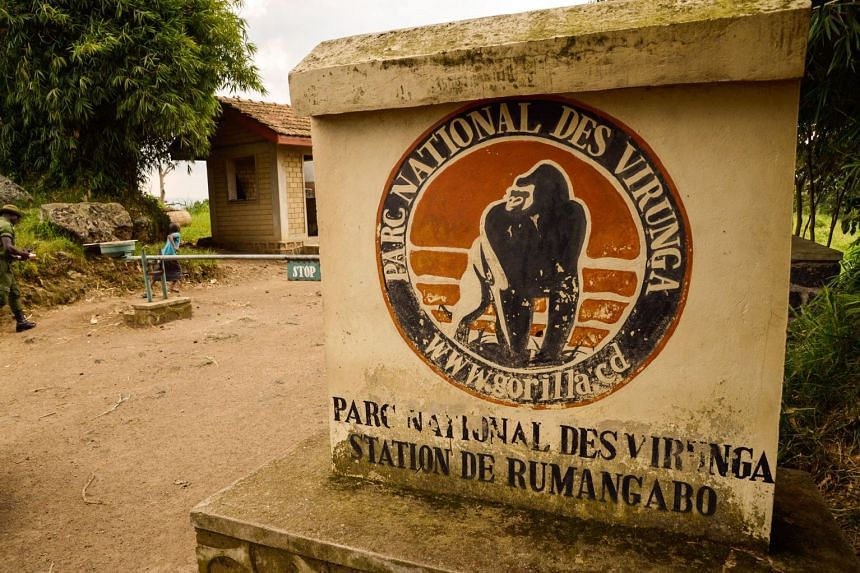 The entrance to the Virunga National Park is seen near Rutshuru, Democratic Republic of Congo.