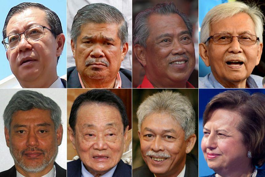 (Clockwise from top left) Malaysia's new Finance Minister Lim Guan Eng, Defence Minister Mohamad Sabu and Home Minister Muhyiddin Massin. In the Council of the Elders are: Tun Daim Zainuddin, Tan Sri Zeti Akhtar Aziz, Tan Sri Hassan Marican, Tan Sri
