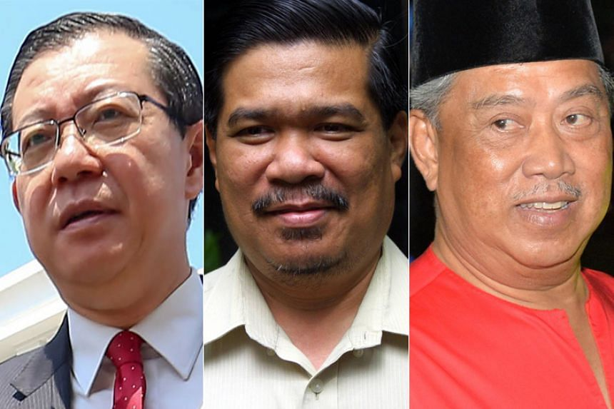 (From left) Democratic Action Party secretary-general Lim Guan Eng will be Finance Minister, President of Parti Amanah Negara Mohamad Sabu will be Defence Minister and Parti Pribumi Bersatu Malaysia president Muhyiddin Yassin will be Home Minister.