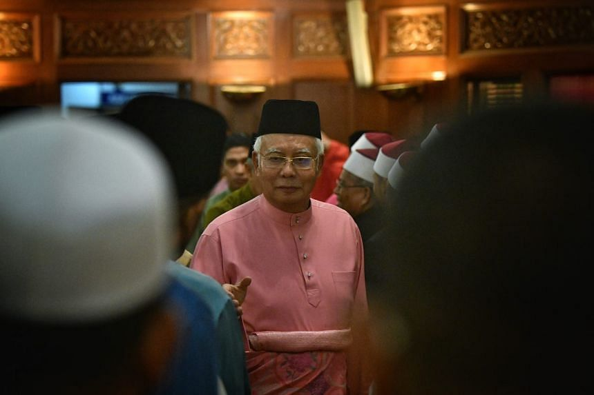 Former Malaysian prime minister Najib Razak at a hall in UMNO headquarters during the party's 72nd anniversary on May 11, 2018.