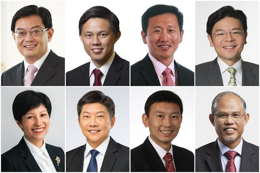 (Clockwise from top left) Finance Minister Heng Swee Keat, Trade and Industry Minister Chan Chun Sing, Education Minister Ong Ye Kung, National Development Minister Lawrence Wong, Environment and Water Resources Minister Masagos Zulkifli, Senior Mini