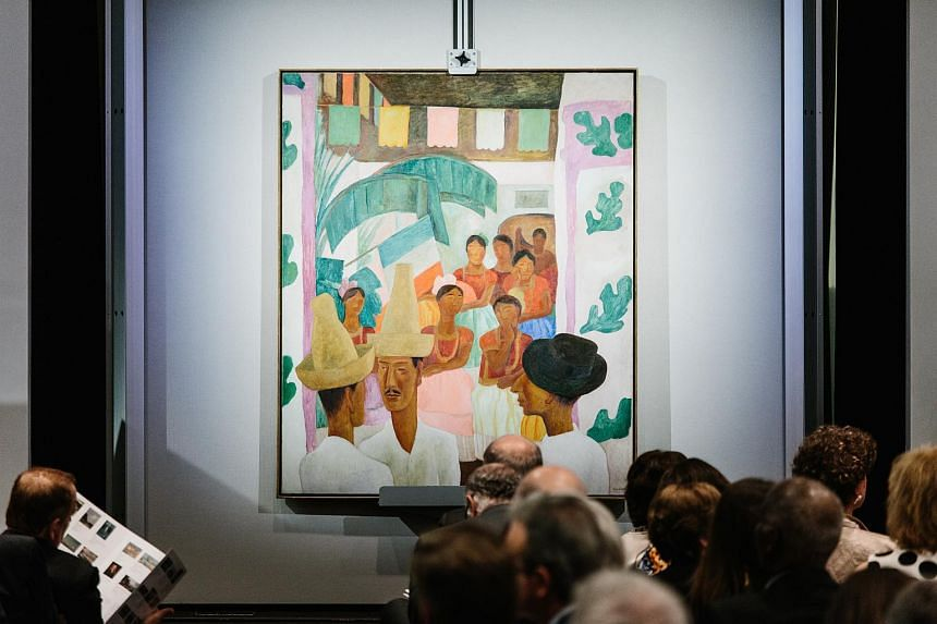 The Rivals, a painting by artist Diego Rivera, is displayed during the sales event of The Collection of Peggy and David Rockefeller at Christie's auction house in New York.