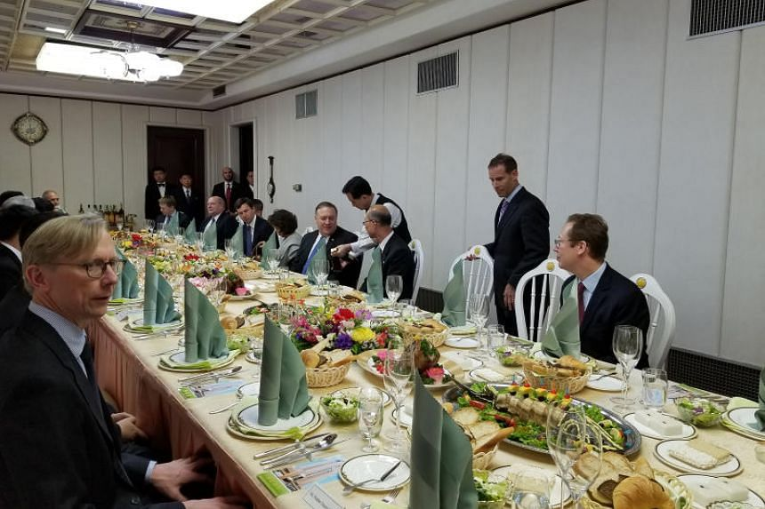 A luncheon hosted in Secretary of State Mike Pompeo's honour at the Koryo Hotel in Pyongyang, North Korea, on Tuesday, May 8, 2018.