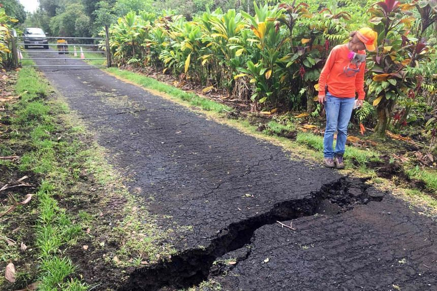 A geologist inspecting a crack that widened considerably on Old Kalapana Road, in Leilani Estates, Hawaii.
