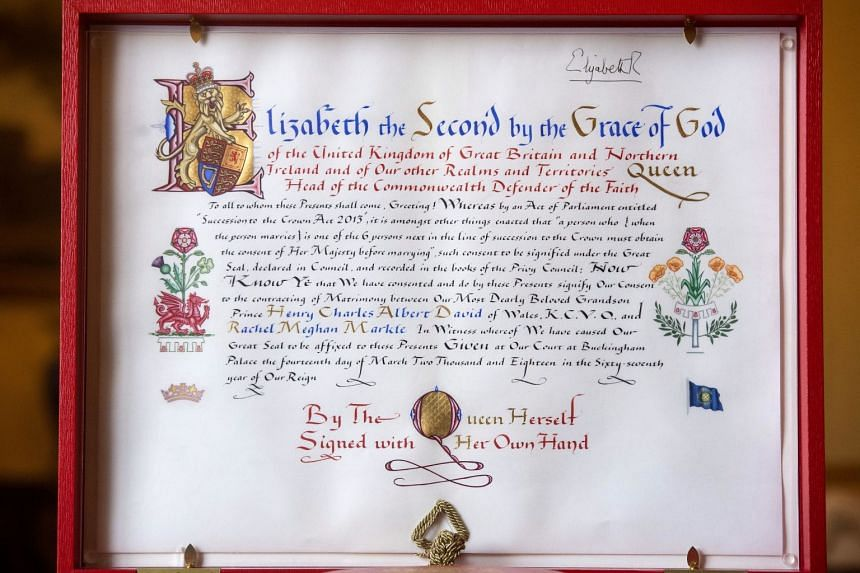 The 'Instrument of Consent', which is the Queen's historic formal consent to Prince Harry's marriage to Meghan Markle.