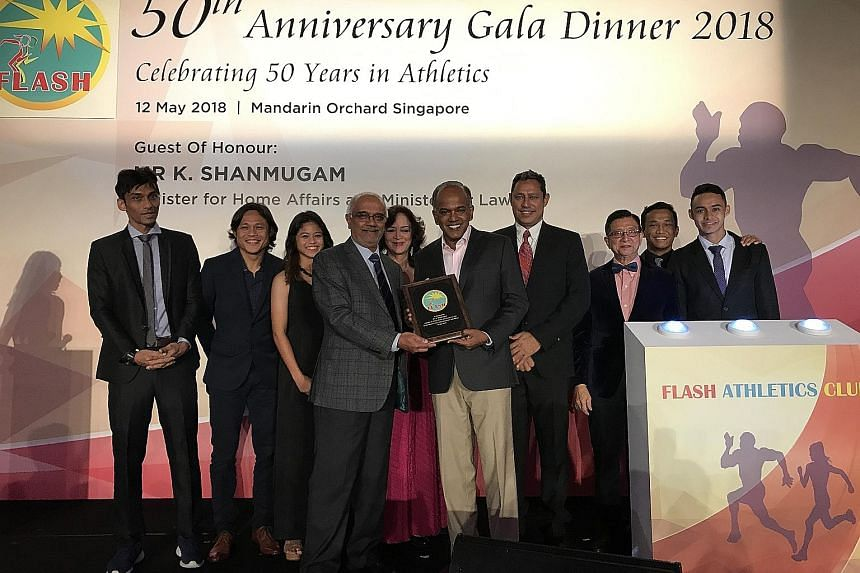 Flash Athletics Club, which is one of Singapore's illustrious track and field associations, celebrated its 50th anniversary last night with the unveiling of a new logo. Law and Home Affairs Minister K. Shanmugam was the guest of honour for the gala e
