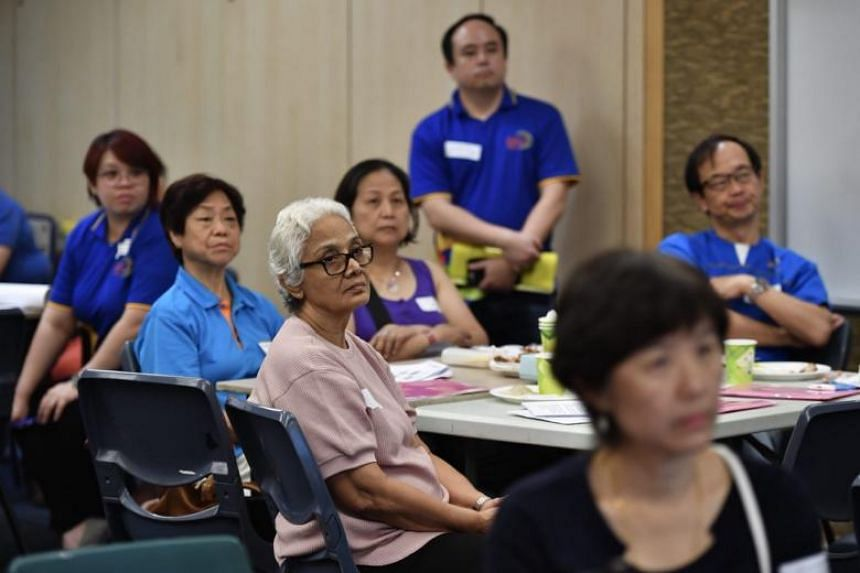 Participants at the dementia go-to point training held at Nee Soon South Community Club on May 13, 2018.