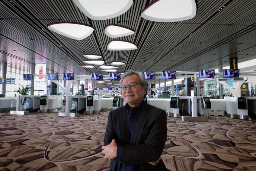 Award winner Lai Huen Poh, who oversaw the Changi Airport Terminal 4 project, at the departure hall which features a wide, open space without the use of obstructive pillars.