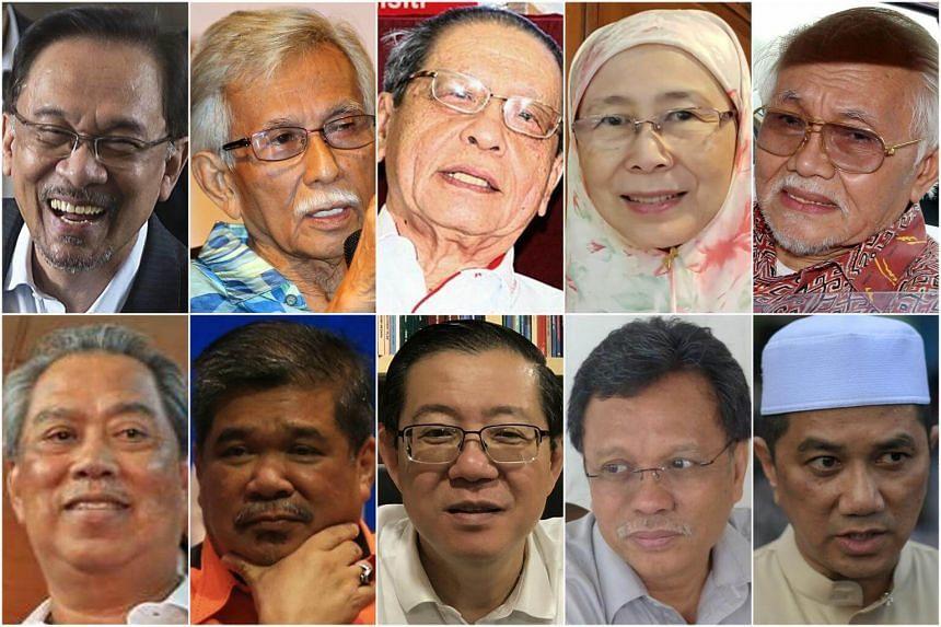(Clockwise from top left) Anwar Ibrahim, Tun Daim Zainuddin, Lim Kit Siang, Wan Azizah, Tun Abdul Taib Mahmud, Azmin Ali, Shafie Apdal, Lim Guan Eng, Mohamad Sabu and Tan Sri Muhyiddin Yassin.