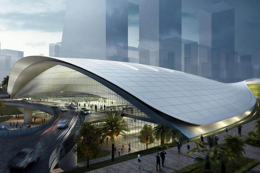 An artist's impression of the Kuala Lumpur-Singapore High-Speed Rail Terminal in Jurong East.