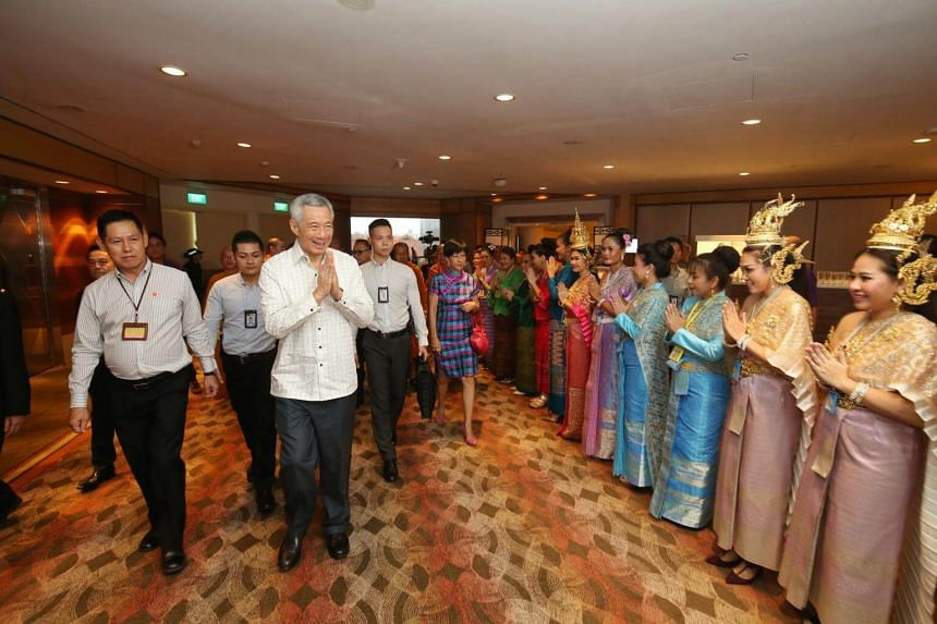 Prime Minister Lee Hsien Loong attending the Wat Ananda Metyarama Thai Buddhist Temple's 100th anniversary celebration lunch on May 13, 2018.