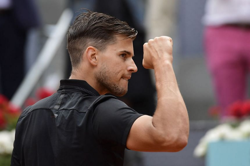 Thiem celebrates his win against South Africa's Kevin Anderson.
