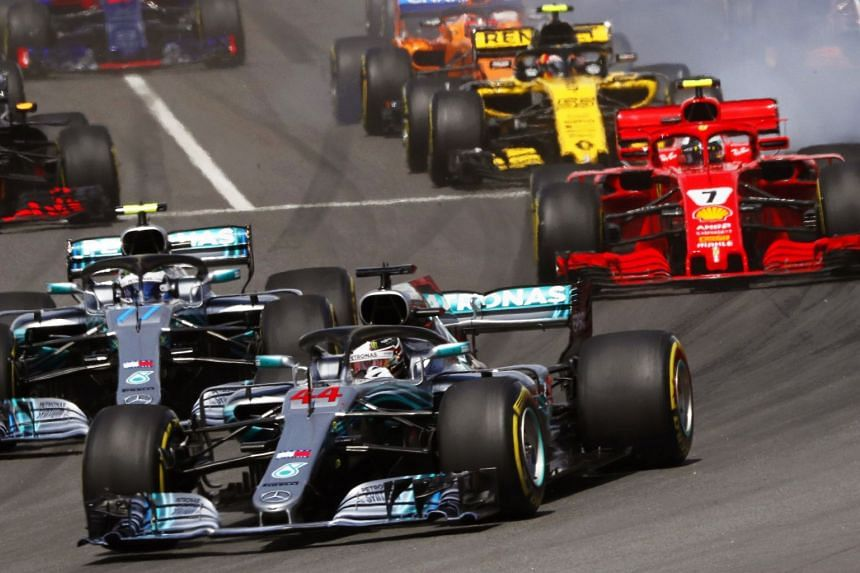Mercedes driver Lewis Hamilton leading the pack during the Spanish Grand Prix on May 13, 2018. Hamilton and teammate Valtteri Bottas finished first and second, with Red Bull's Max Verstappen in third place.