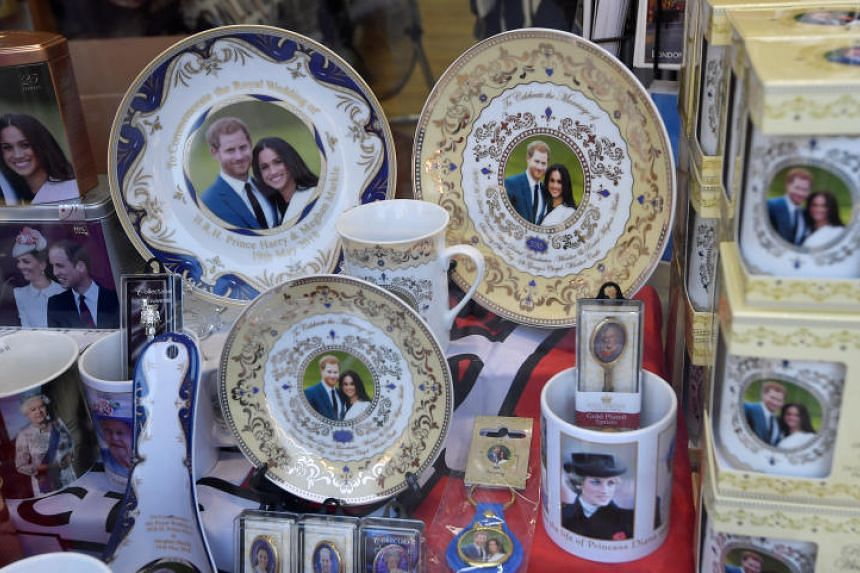 Souvenirs themed on the upcoming royal wedding between Britain's Prince Harry and actress Meghan Markle are seen on sale in Windsor, Britain, on May 8, 2018.