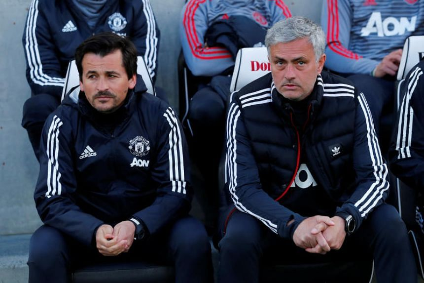 Manchester United manager Jose Mourinho and assistant manager Rui Faria watching on the sidelines ahead of the match against Brighton and Hove Albion, on March 5, 2018.