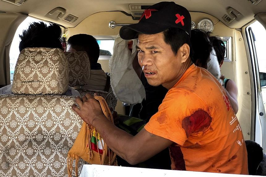 A man injured in clashes between the Myanmar army and the Ta'ang National Liberation Army in the border town of Muse.