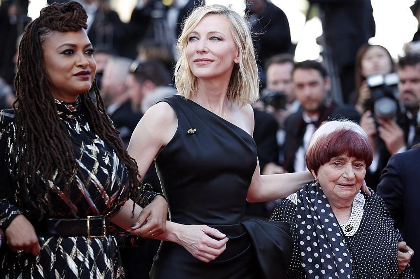 At last Saturday's red carpet event for the screening of Girls Of The Sun during the 71st annual Cannes Film Festival, (from left) director Ava DuVernay, actress Cate Blanchett and film-maker Agnes Varda were among celebrities that appeared in a prot