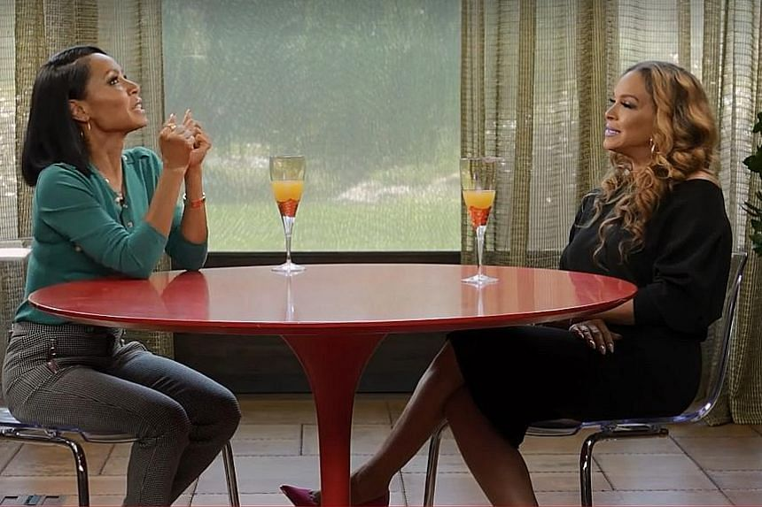Actress Jada Pinkett Smith (left) and Will Smith's ex-wife, Sheree Fletcher, discuss their relationship in the debut episode of Pinkett Smith's Facebook Live show, Red Table Talk.
