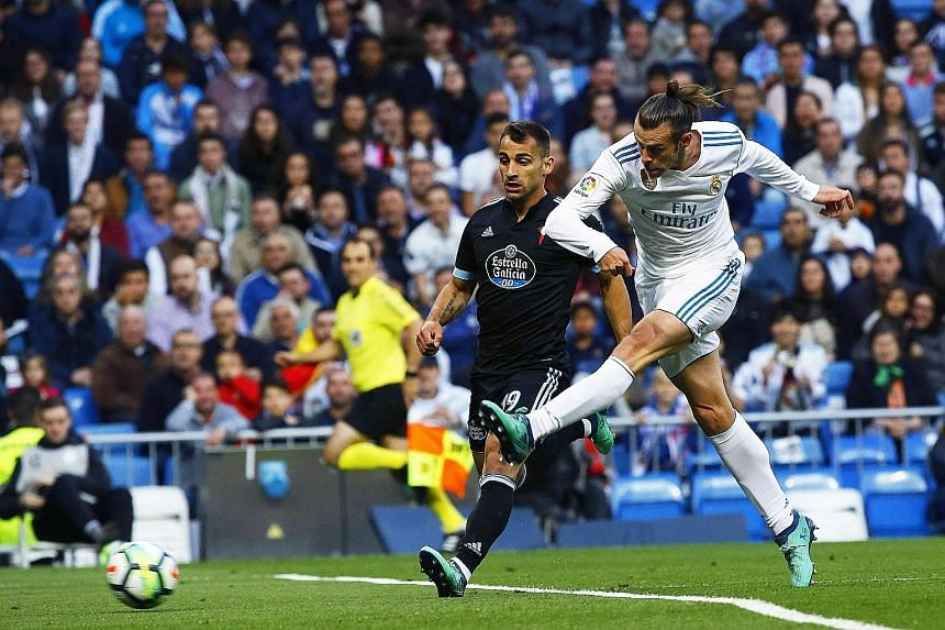 Real Madrid's Gareth Bale scoring his side's first of six goals without reply against Celta Vigo in the LaLiga on Saturday. His double and six goals in his last five LaLiga starts have given him a strong case to be included in the May 26 Champions Le