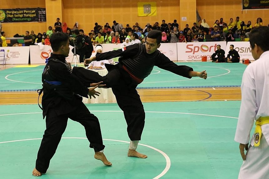 Syahiran Jeffry (right) won the Class J (up to 75kg) Under-17 title in the Singapore Open Pencak Silat Championship.
