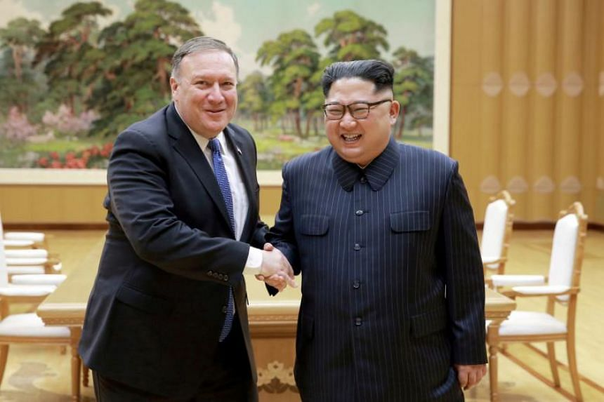 North Korean leader Kim Jong Un with US Secretary of State Mike Pompeo in Pyongyang on May 9, 2018.