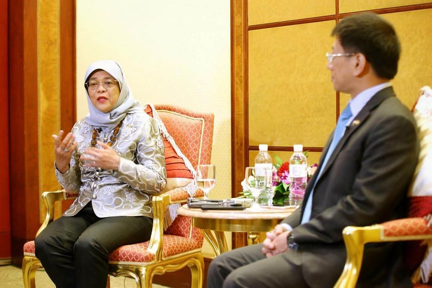 It is timely for businesses to venture abroad and collaborate with Brunei given how the country is diversifying its economy, said President Halimah Yacob.