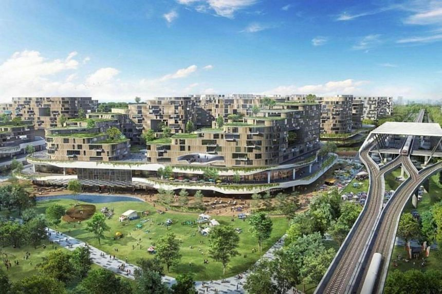 An artist's impression of Tengah, which will have a car-free town centre. National Development Minister Lawrence Wong said that over the next few years, there will be a steady stream of flats in Tengah, which is Singapore's first new town in more tha