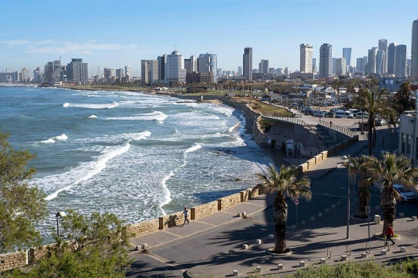 General view of the skyline of Tel Aviv and the beaches on the Mediterranean coast in Jaffa, Israel on Feb 28, 2018.