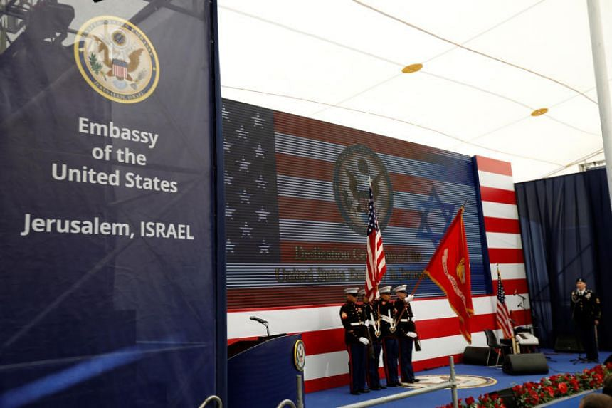US marines take part in the dedication ceremony of the new US embassy in Jerusalem on May 14, 2018.