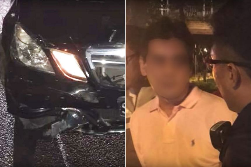 The Mercedes driver was arrested after allegedly ramming into the back of a car on the PIE.