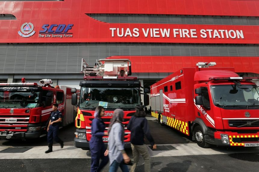File photo of Tuas View Fire Station, where a full-time NSman was found unconscious at the bottom of a pump well.