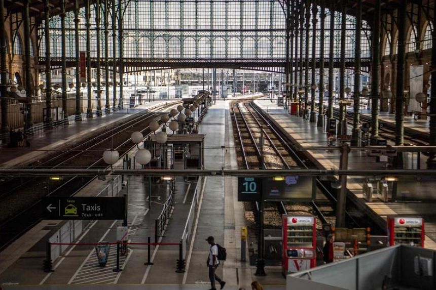 Empty platforms are pictured at Gare du Nord railway station in Paris on April 24, 2018, as French rail workers pursue a second day of strike over planned reforms to overhaul the national state-owned railway company SNCF.