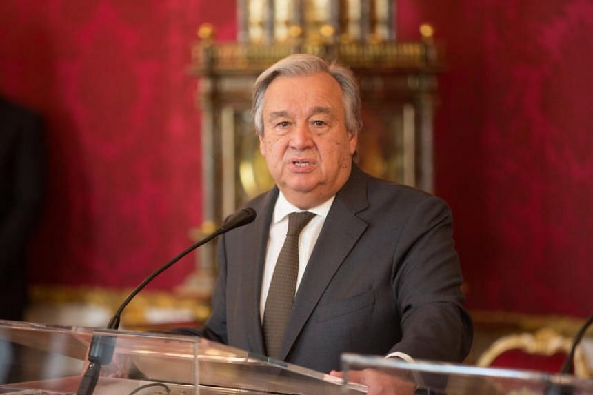 UN Secretary-General Antonio Guterres speaks during a press statement at the Hofburg Palace in Vienna on May 14, 2018.
