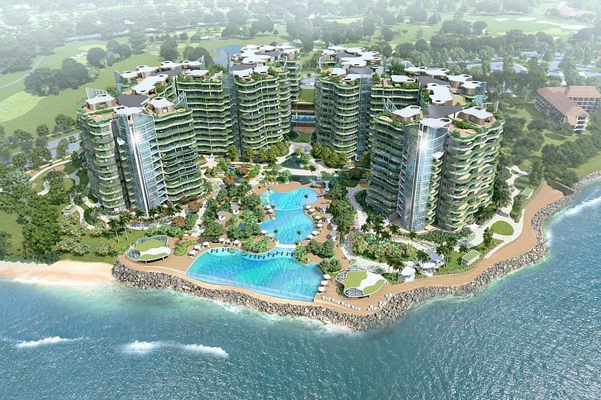An artist's impression of Coral Bay, which comprises eight 12-storey towers within the oceanfront gated community of Sutera Harbour Resort. Prices start from RM2.3 million (S$775,000). Apartments range from 1,500 sq ft two-bedroom units to 9,000 sq f