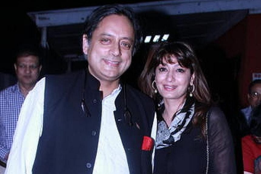 Shashi Tharoor and Sunanda Pushkar in earlier days, attending a special screening of Bollywood movie Lootera at the Film Division Auditorium in New Delhi, India, on July 3, 2013.