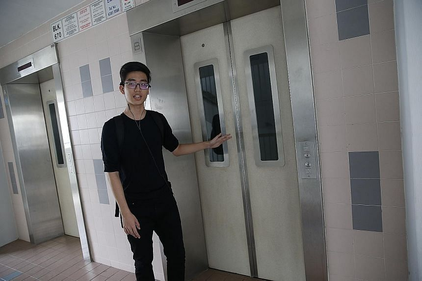 Mr Ang Bing Xuan, recalling the May 6 incident, said the lift at Block 670 Jalan Damai stopped, jerked downwards, then went up again.