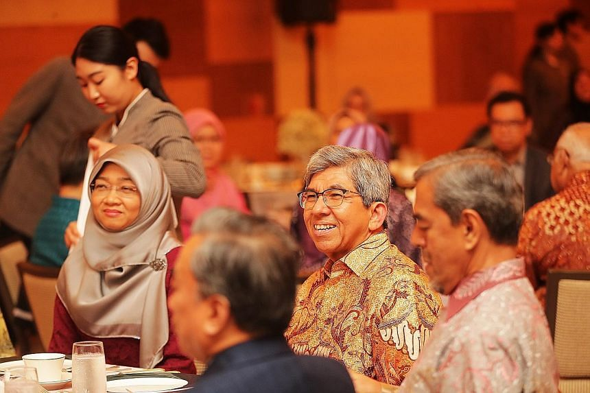 Dr Yaacob Ibrahim - seen here at a dinner in his honour earlier this month organised by the Malay/Muslim community - was one of three former ministers who received tributes from parliamentarians yesterday for their service and contributions to the na