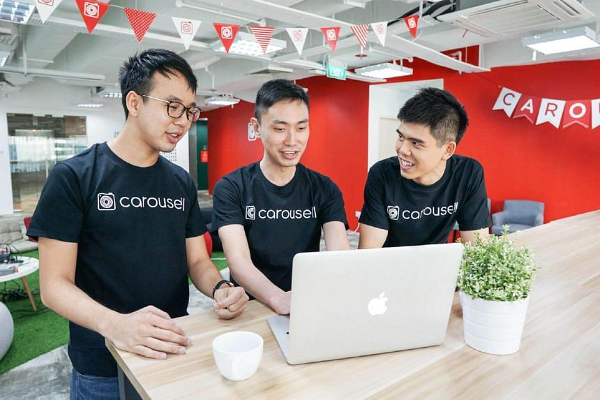 Carousell's co-founder and chief executive Siu Rui Quek (right) with his co-founders.