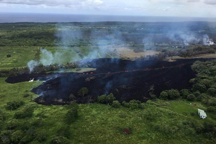 A view of Fissure 17, is seen looking south-ward from Hwy 132, in Hawaii, on May 13, 2018. Fissure 17 prompted more evacuations and warnings of a possible major eruption of the volcano.
