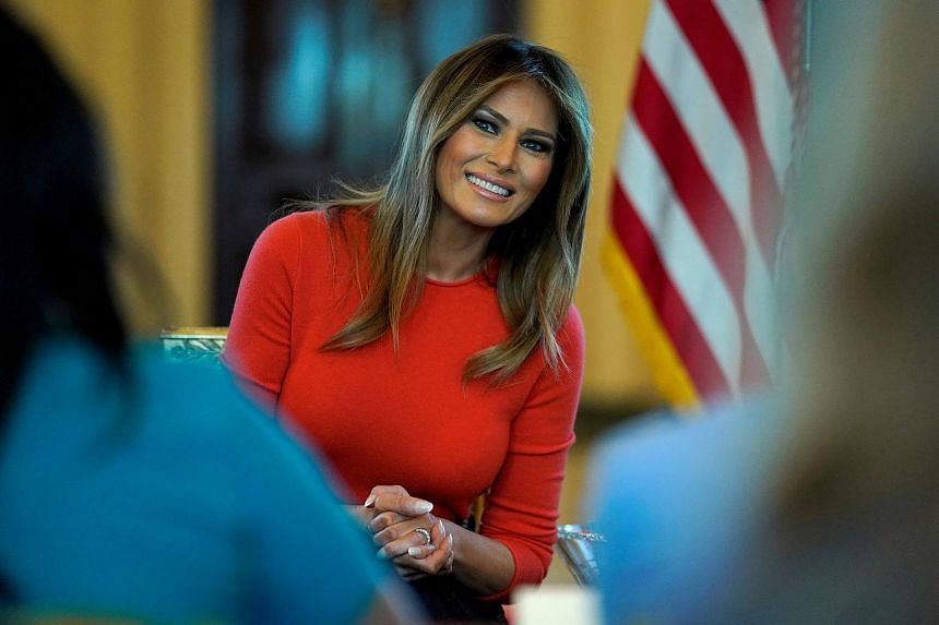 A file phot of US First Lady Melania Trump during a listening session with students at the White House in Washington, on April 9, 2018.