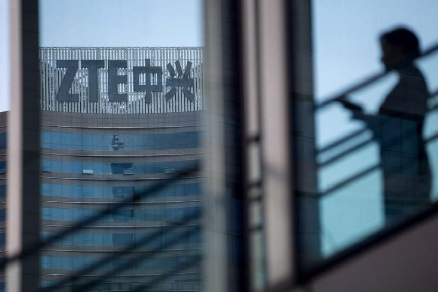 The ZTE Corporation logo at the company's headquarters in Shenzhen, Guangdong Province, China, on May 14, 2018.