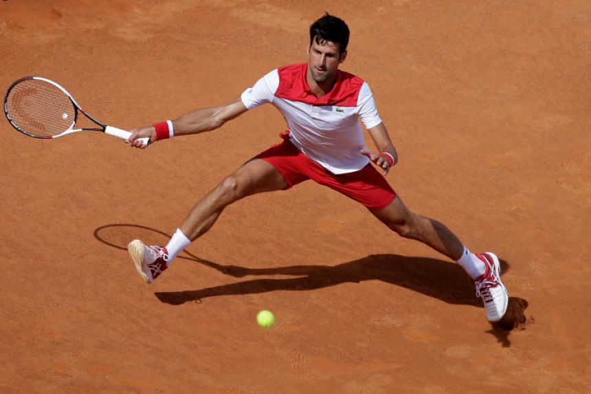 Serbia's Novak Djokovic in action during his first round match against Ukraine's Alexandr Dolgopolov at the Italian Open in Foro Italico, Rome, Italy on May 14, 2018.