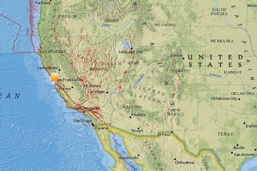 The quake struck about three km east-north-east of Oakland, at a shallow depth of nine km, said the USGS.